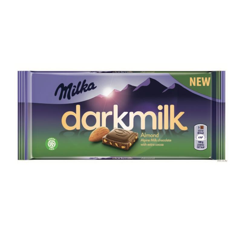 Шоколад Milka Darkmilk миндаль 90гр(плитка)