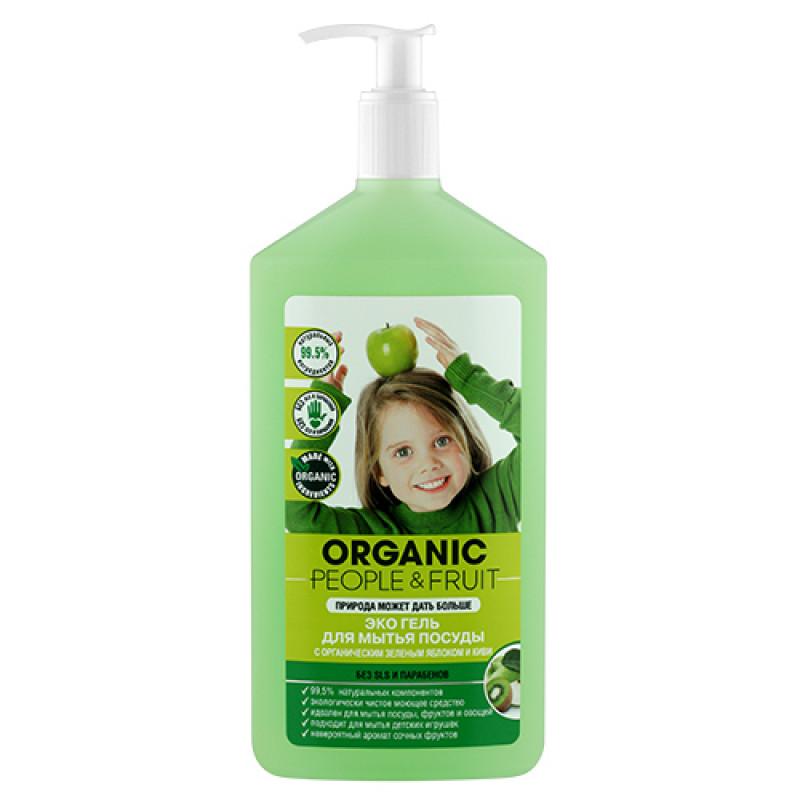 Эко гель для мытья посуды с органическим зеленым яблоком и киви, 500 мл ORGANIC PEOPLE &FRUIT
