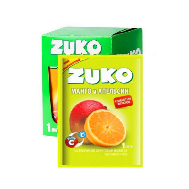 Zuko / Растворимый напиток со вкусом манго и апельсина ZUKO (блок 12шт по 25гр)