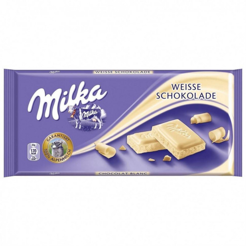 Шоколад Milka White Chocolate 100гр(плитка)