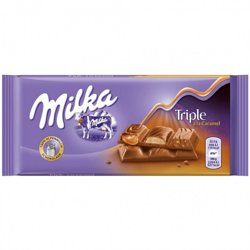 Шоколад Milka Triple Caramel 90гр(плитка)