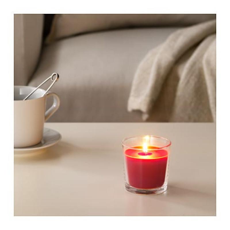Ароматическая свеча в стакане, аромат красные садовые ягоды, цвет красный 60350076