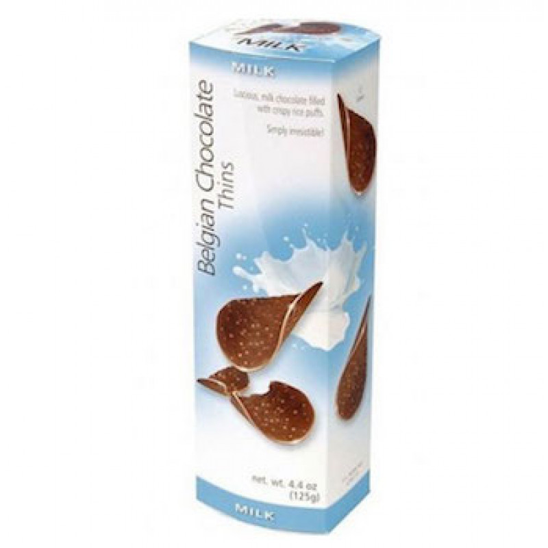 Шоколадные чипсы Belgian Chocolate Thins Молочные 80 гр