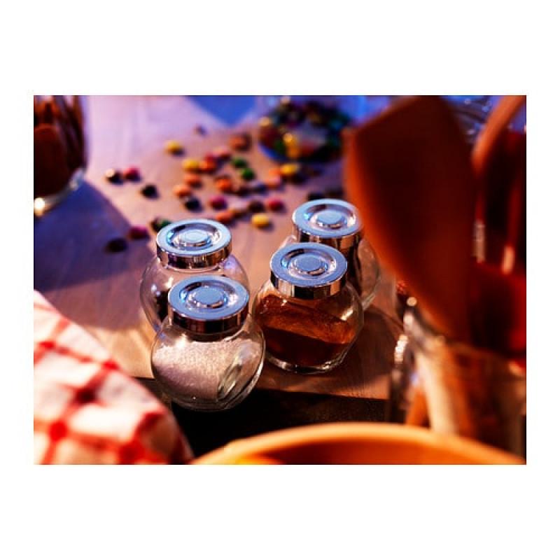 Стеклянные банки для специй, цвет крышки - алюминий, 4шт 30372471