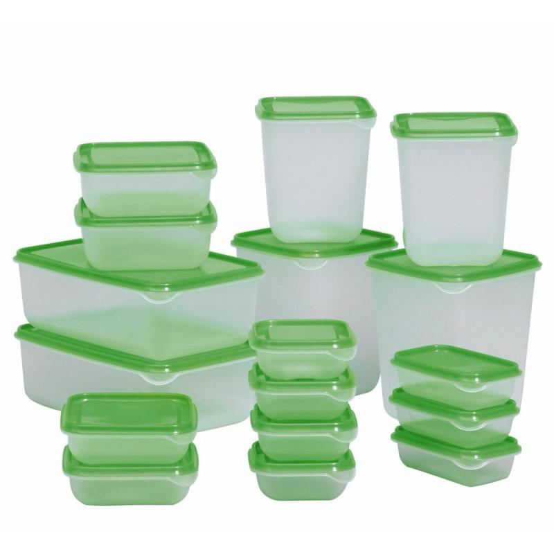 Набор контейнеров для хранения продуктов 17 шт., прозрачный, зеленый 80376216