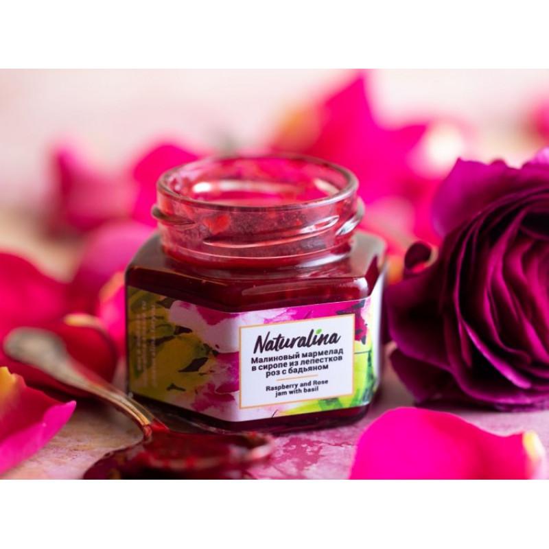 Naturalina Малиновый мармелад в сиропе из лепестков роз с бадьяном и базиликом, 100 г SALE