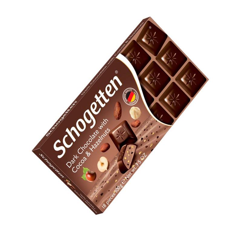 Schogetten / Темный шоколад с какао-бобами и лесными орехами, 100 г SALE ГОДЕН ДО 30.11.21Г