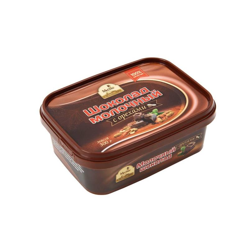 """Молочный шоколад с орехами """"Мистер Чо""""  300 гр (литой)"""