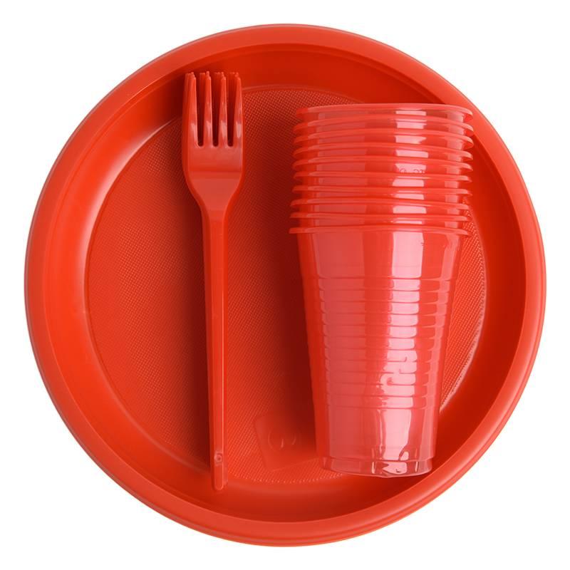 Набор одноразовой посуды Красный (арт. 08)